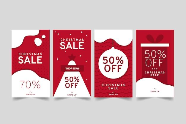 Collection D'histoire De Vente De Noël Instagram Vecteur gratuit