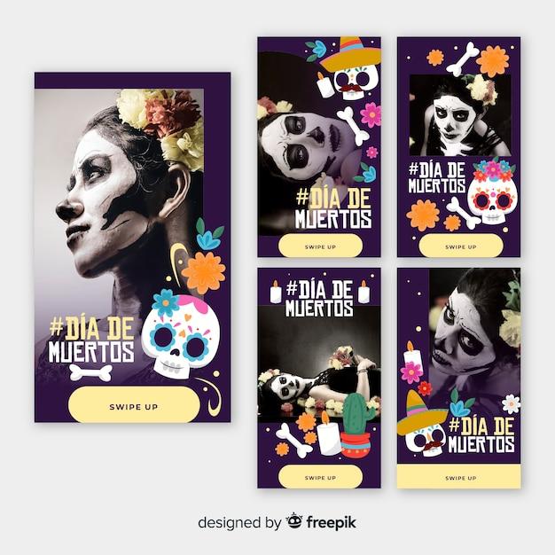 Collection d'histoires de fille instagram día de muertos Vecteur gratuit