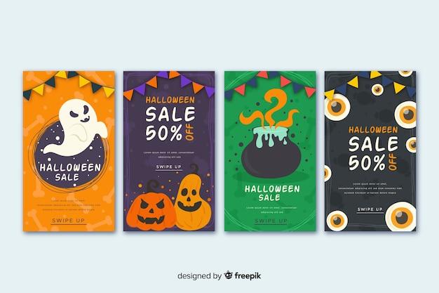 Collection d'histoires halloween avec citrouille et sorcellerie Vecteur gratuit