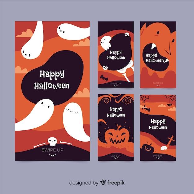Collection d'histoires halloween avec fantômes Vecteur gratuit