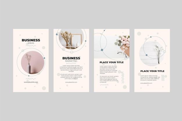 Collection D'histoires Instagram D'affaires Marketing Vecteur Premium