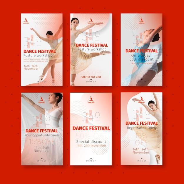 Collection D'histoires Instagram Dansantes Vecteur gratuit
