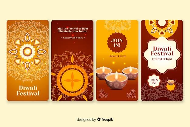 Collection d'histoires instagram diwali Vecteur gratuit