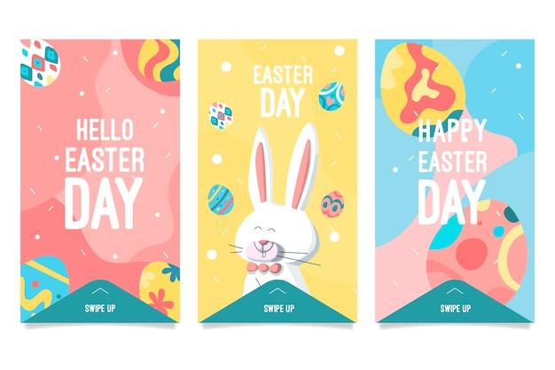 Collection D'histoires Instagram Du Jour De Pâques Vecteur gratuit