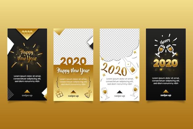 Collection D'histoires Instagram Du Nouvel An 2020 Vecteur gratuit