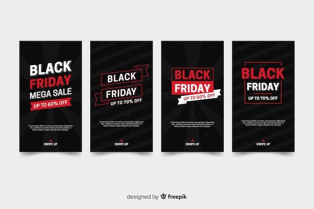 Collection d'histoires instagram du vendredi noir avec informations rouges Vecteur gratuit