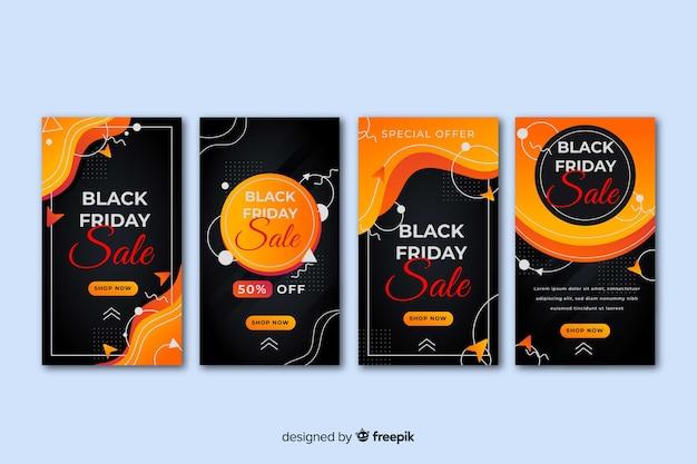 Collection d'histoires instagram du vendredi noir Vecteur gratuit