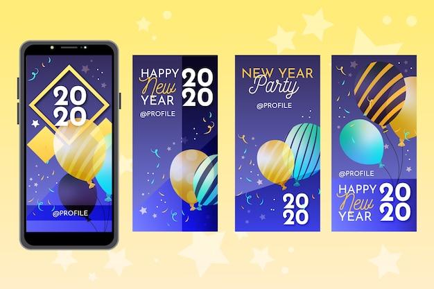 Collection d'histoires d'instagram de fête du nouvel an 2020 Vecteur gratuit