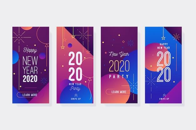 Collection d'histoires d'instagram de fête de nouvelle année Vecteur gratuit