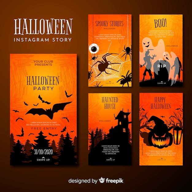 Collection Sur Les Histoires D'instagram D'halloween Vecteur Premium