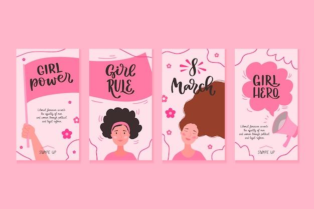 Collection D'histoires Instagram De La Journée Internationale Des Femmes Dessinées à La Main Vecteur gratuit