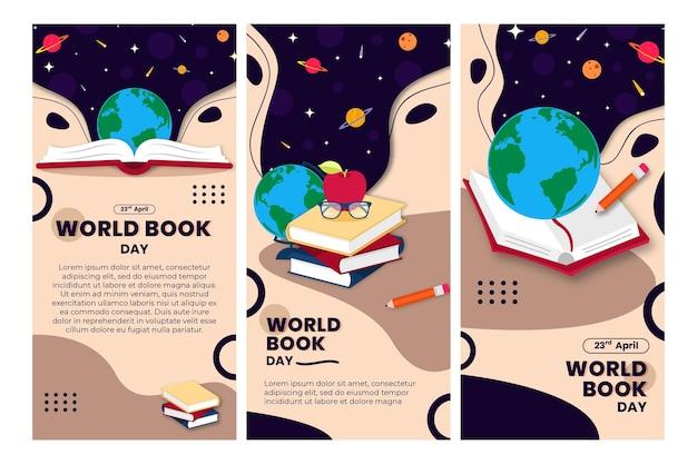 Collection D'histoires Instagram De La Journée Mondiale Du Livre Vecteur gratuit