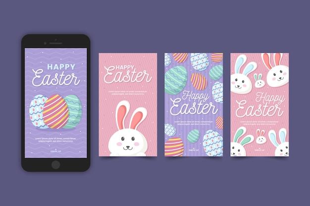 Collection D'histoires Instagram De Pâques Et Téléphone Mobile Vecteur gratuit