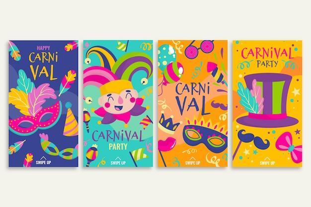 Collection D'histoires Instagram Party Carnaval Vecteur gratuit
