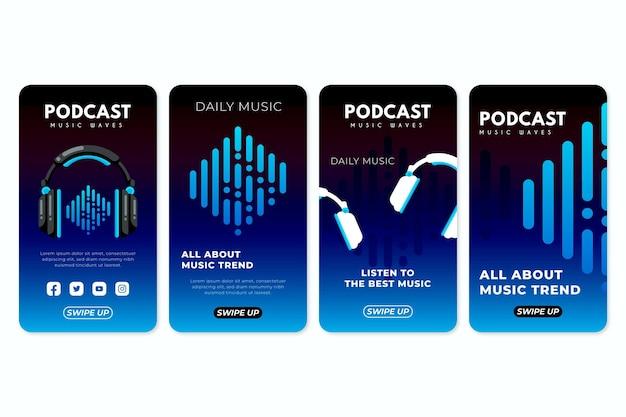 Collection D'histoires Instagram De Podcast De Musique Plate Vecteur gratuit