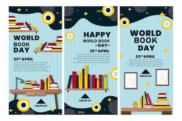 Collection D'histoires Instagram Pour La Célébration De La Journée Mondiale Du Livre Vecteur gratuit