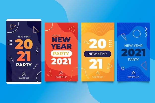 Collection D'histoires Instagram Pour La Fête Du Nouvel An 2021 Vecteur gratuit