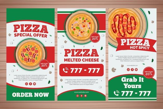 Collection D'histoires Instagram Pour Une Pizzeria Vecteur gratuit