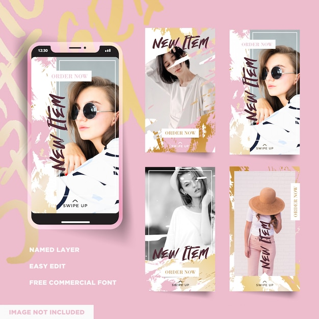 Collection D'histoires D'instagram En Promo Vecteur Premium