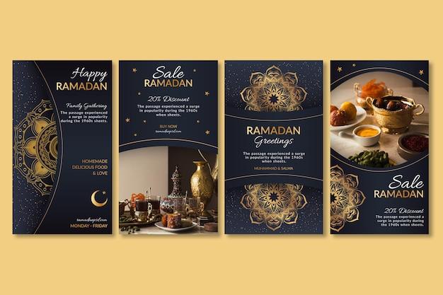 Collection D'histoires Instagram Ramadan Vecteur gratuit