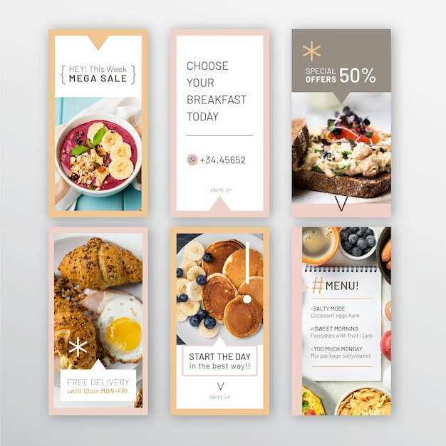 Collection D'histoires Instagram De Restaurant De Petit-déjeuner Vecteur gratuit