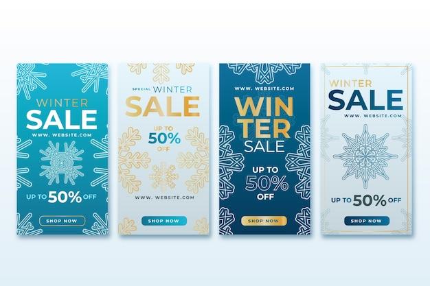 Collection d'histoires instagram avec soldes d'hiver Vecteur gratuit