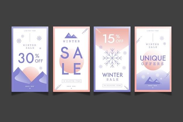 Collection D'histoires Instagram De Soldes D'hiver Vecteur gratuit