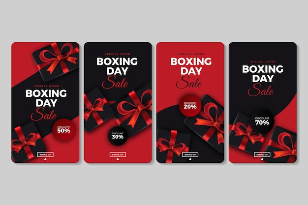 Collection d'histoires d'instagram de vente de boxing day Vecteur gratuit