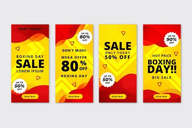 Collection d'histoires d'instagram de vente de boxing day Vecteur gratuit