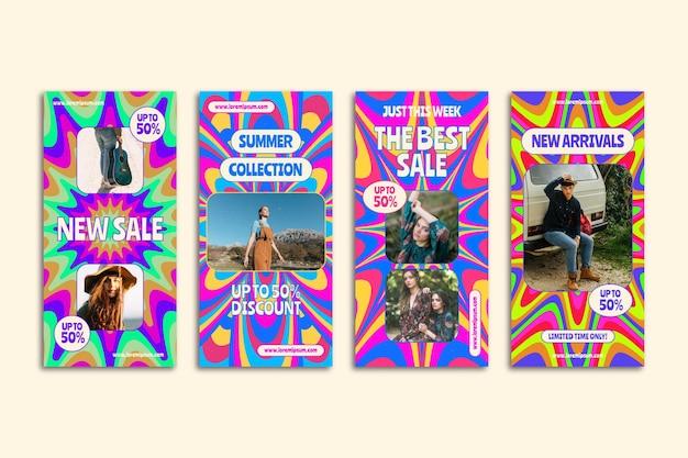 Collection D'histoires Instagram De Vente Groovy Dessinée à La Main Vecteur gratuit