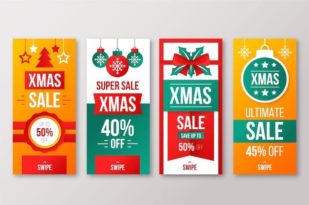 Collection d'histoires d'instagram de vente de noël Vecteur gratuit