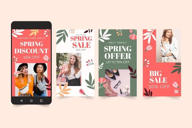 Collection D'histoires Instagram De Vente De Printemps Plat Vecteur gratuit