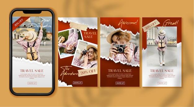 Collection D'histoires Instagram De Vente De Voyage Vecteur gratuit