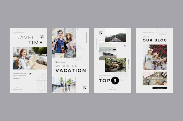 Collection D'histoires Instagram De Voyage Plat Vecteur Premium