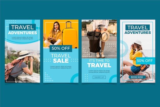 Collection D'histoires Instagram De Voyage Plat Vecteur gratuit
