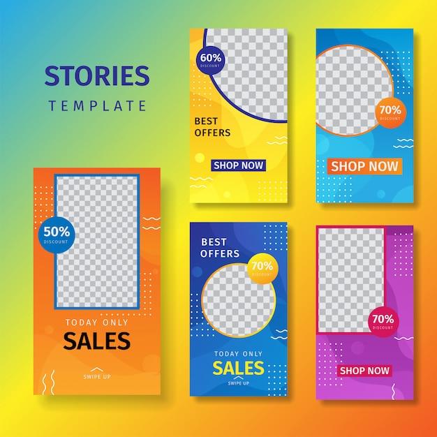 Collection d'histoires de médias sociaux vendant des arrière-plans de bannières Vecteur Premium