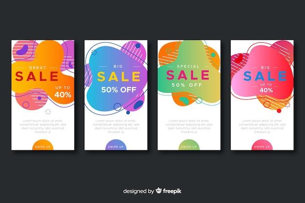 Collection d'histoires de vente abstraites instagram Vecteur gratuit