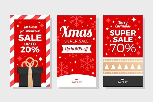 Collection D'histoires De Vente De Noël Instagram Vecteur gratuit