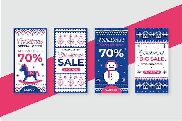 Collection D'histoires De Vente De Noël Sur Instagram Vecteur gratuit