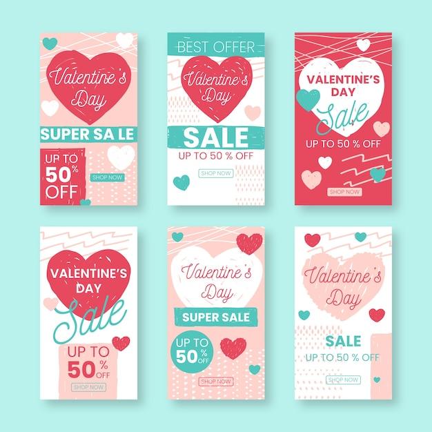 Collection D'histoires De Vente De La Saint-valentin Vecteur gratuit