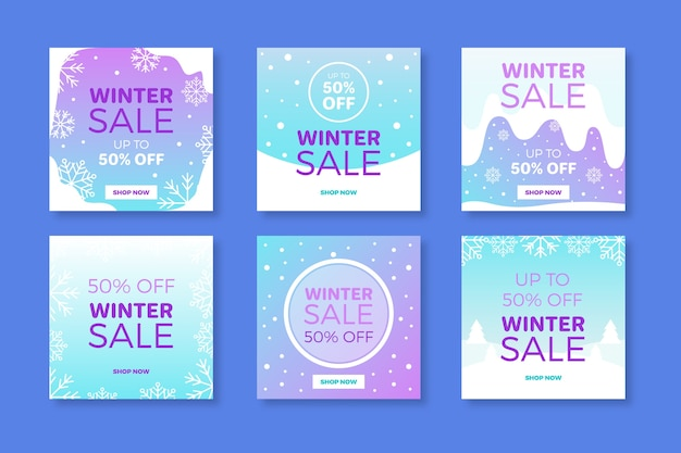 Collection hiver après vente instagram Vecteur gratuit