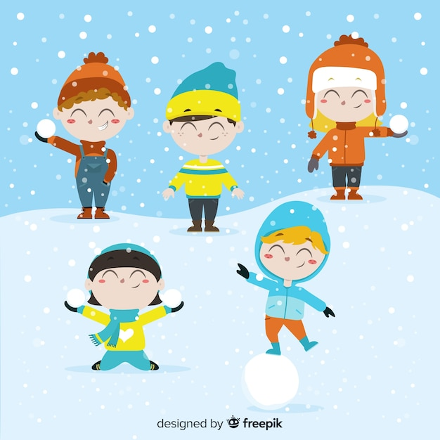 Collection d'hiver pour enfants Vecteur gratuit