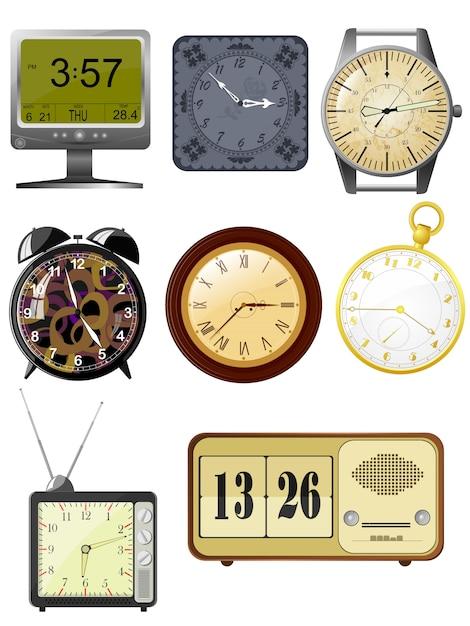 Collection d'horloge d'illustrations vectorielles Vecteur Premium