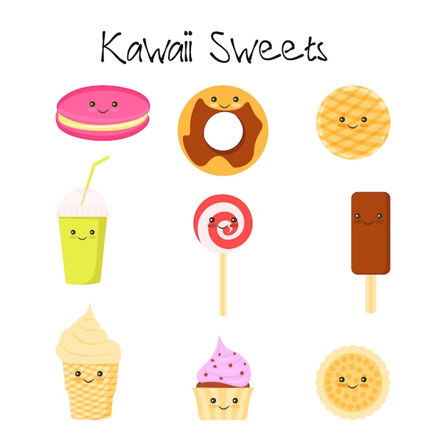 Collection de l'icône de bébé joli sweet et dessert doodle Vecteur Premium