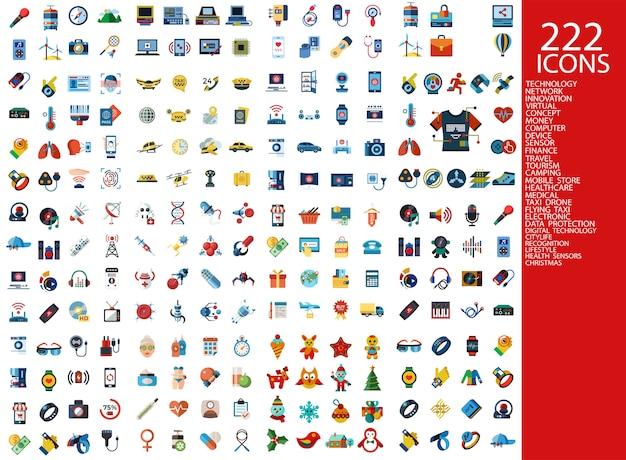 Collection d'icônes 222 couleurs Vecteur Premium