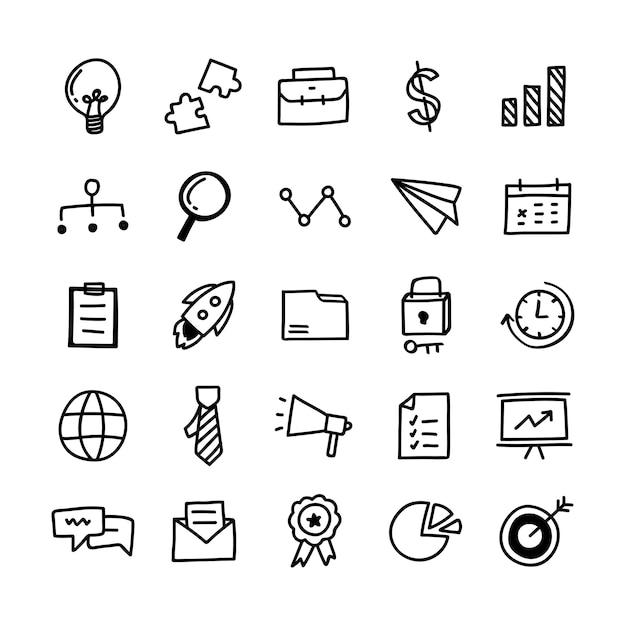 Collection d'icônes d'affaires illustrées Vecteur gratuit