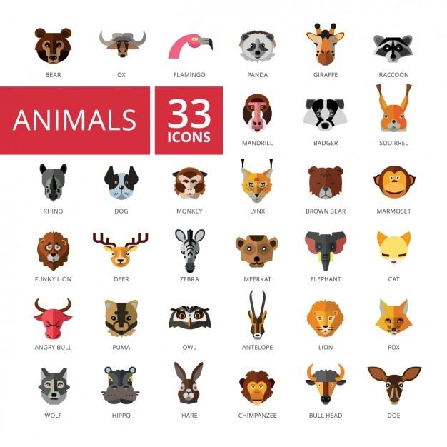 Collection D'icônes Des Animaux Vecteur gratuit