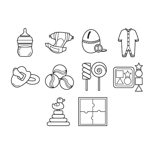 Collection D'icônes De Bébé Vecteur gratuit