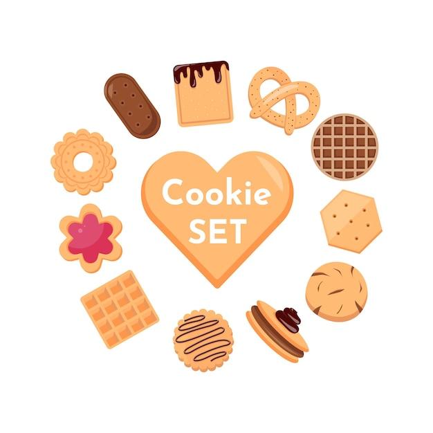 Collection D'icônes De Biscuits Et Biscuits Isolé Sur Fond Blanc. Délicieux Biscuits Dessin Animé Illustration Nourriture Sucrée. Vecteur Premium