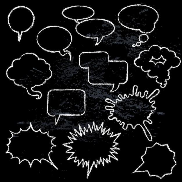 Collection d'icônes de bulles comique différentes formes sur fond noir Vecteur gratuit